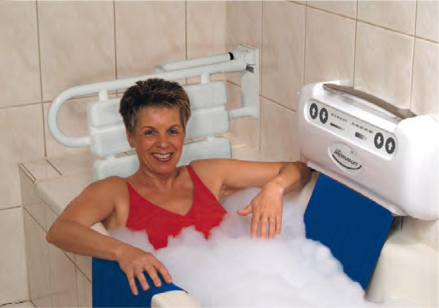 Rückenlehne für Badewanne mit Bandlift